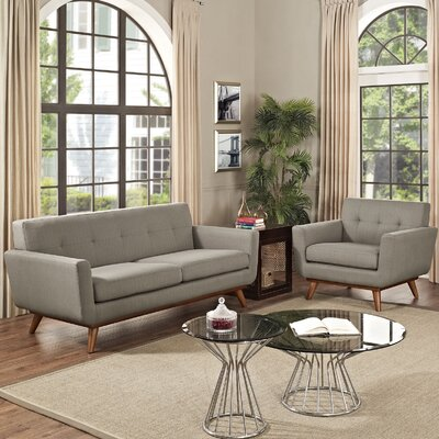 Saginaw Armchair and Loveseat Set Upholstery: Granite