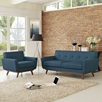 Saginaw Armchair and Loveseat Set Upholstery: Azure
