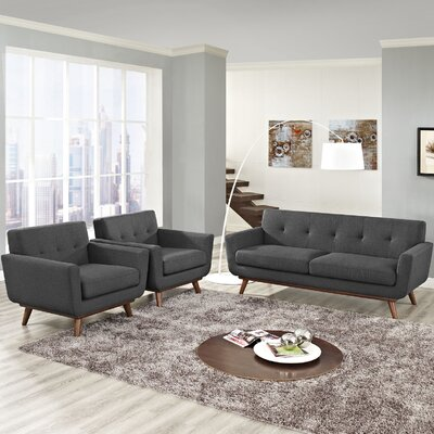 Saginaw 3 Piece Solid Living Room Set Upholstery: Gray
