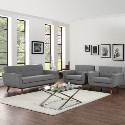 Saginaw 3 Piece Solid Living Room Set Upholstery: Expectation Gray