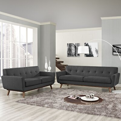 Saginaw Loveseat and Sofa Set Upholstery: Gray
