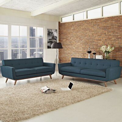 Saginaw Loveseat and Sofa Set Upholstery: Azure