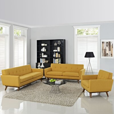 Saginaw 3 Piece Tufted Living Room Set Upholstery: Citrus