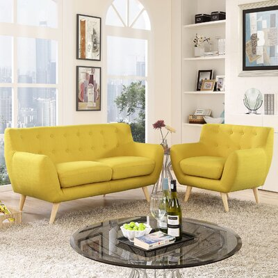 Meggie Armchair and Loveseat Set Upholstery: Sunny