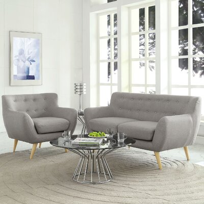 Meggie Armchair and Loveseat Set Upholstery: Light Gray