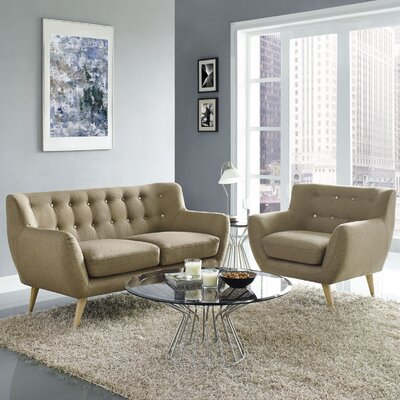 Meggie Armchair and Loveseat Set Upholstery: Brown