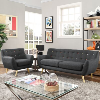 Meggie 2 Piece Living Room Set Upholstery: Gray