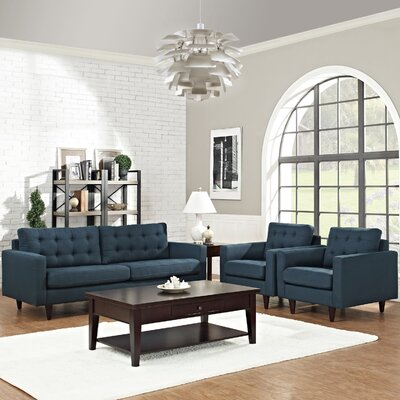 Warren 3 Piece Solid Living Room Set Upholstery: Azure
