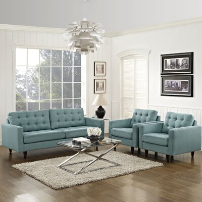 Warren 3 Piece Solid Living Room Set Upholstery: Laguna
