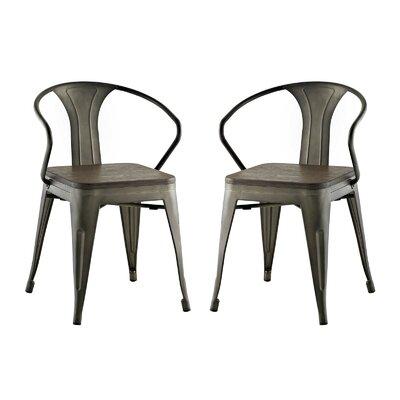 Ashlyn Metal Dining Chair Color: Brown