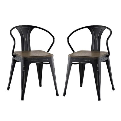 Ashlyn Metal Dining Chair Color: Black