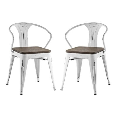 Ashlyn Metal Dining Chair Color: White