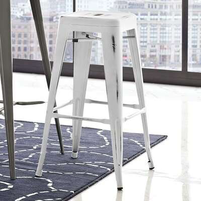 Ashlyn 30 Square Bar Stool Color: White