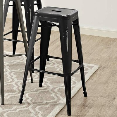 Ashlyn 30 Metal Bar Stool Color: Black