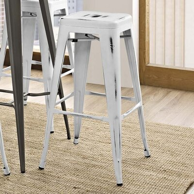 Ashlyn 30 Metal Bar Stool Color: White