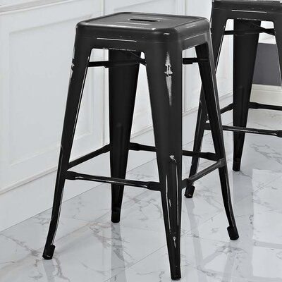 Ashlyn 30 Power Coated Steel Bar Stool Color: Black