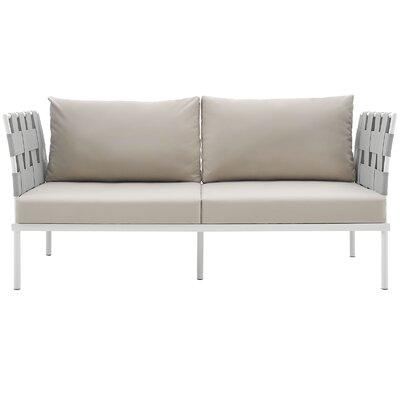 Darnell Outdoor Patio Love Seat Fabric: Beige