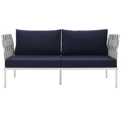Darnell Outdoor Patio Love Seat Fabric: Navy