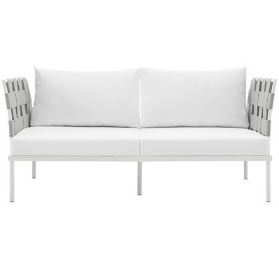 Darnell Outdoor Patio Love Seat Fabric: White