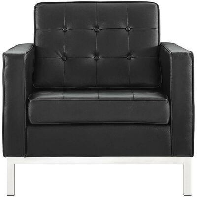 Gayatri Leather Armchair Upholstery: Black