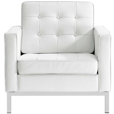 Gayatri Leather Armchair Upholstery: White