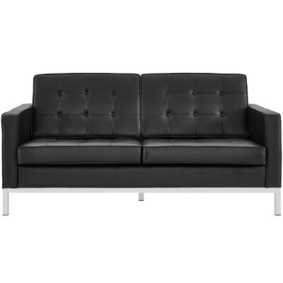 Gayatri Leather Loveseat Upholstery: Black