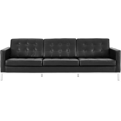 Gayatri Leather Sofa Upholstery: Black