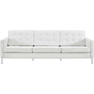 Gayatri Leather Sofa Upholstery: White
