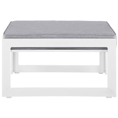 Fehi Outdoor Patio Ottoman with Cushion Color: White/Gray
