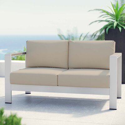 Coline Outdoor Patio Aluminum Loveseat with Cushions Fabric: Beige