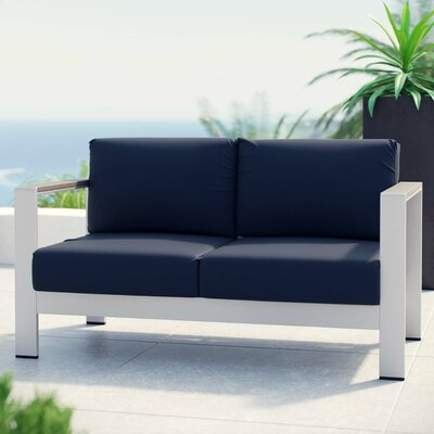 Coline Outdoor Patio Aluminum Loveseat with Cushions Fabric: Navy