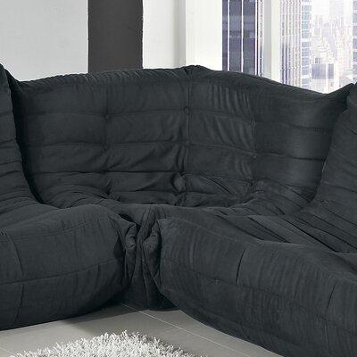 Waverunner Corner Loveseat Upholstery: Black