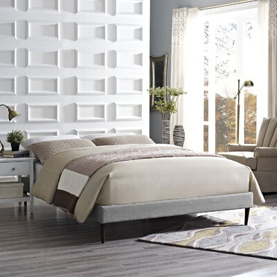 Sherry Bed Frame Color: Light Gray, Size: King