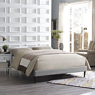 Sherry Bed Frame Size: King, Color: Light Gray