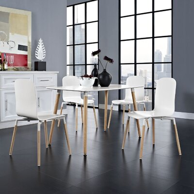 Stack Wood 5 Piece Dining Set Color: White