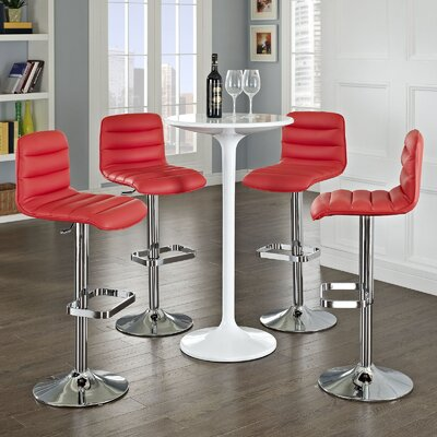 Kizzy Adjustable Height Swivel Bar Stool Upholstery: Red