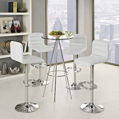 Kizzy Adjustable Height Swivel Bar Stool Upholstery: White