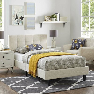 Molinaro Twin Upholstered Platform Bed Color: Beige, Size: Queen