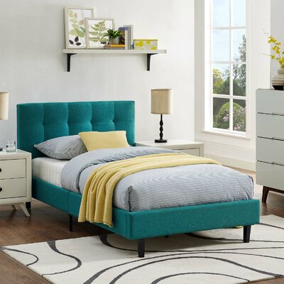 Molinaro Twin Upholstered Platform Bed Color: Teal, Size: Queen