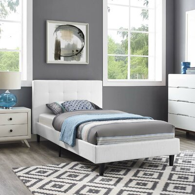 Molinaro Twin Upholstered Platform Bed Color: White, Size: Twin