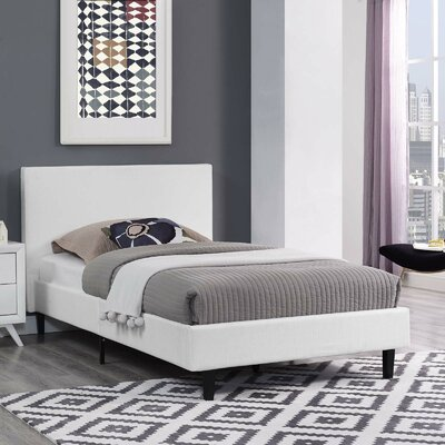 Tafolla Bed Frame Color: White, Size: Queen