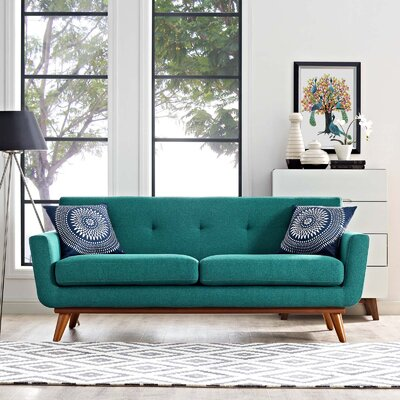 Johnston Tufted Upholstered Sofa Upholstery: Teal