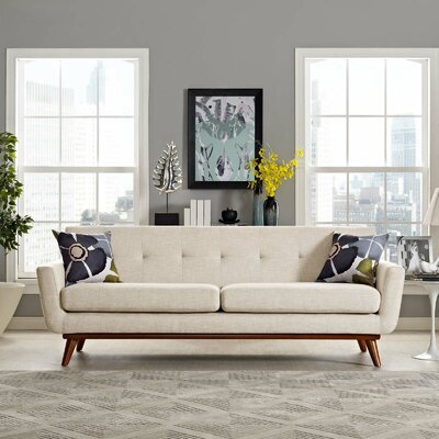 Johnston Upholstered Sofa Upholstery: Beige