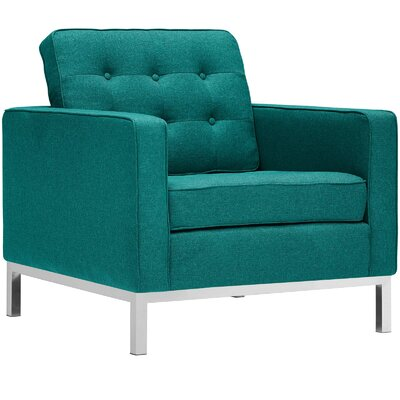 Gayatri Metal Fabric Armchair Upholstery: Teal