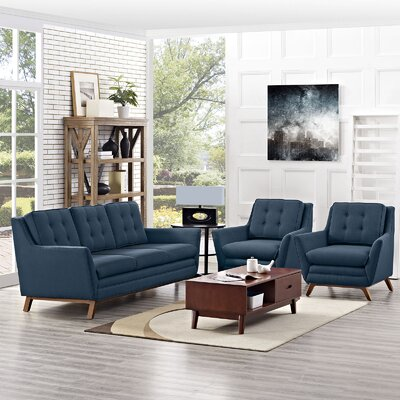 Beguile 3 Piece Living Room Set Upholstery: Azure