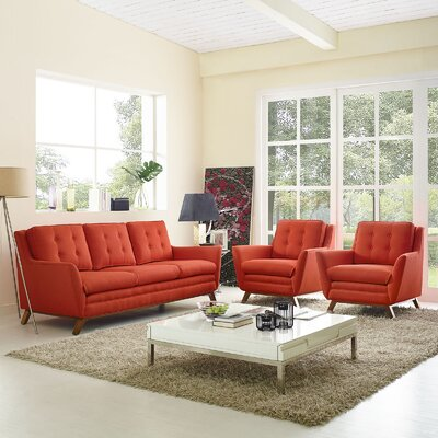 Beguile 3 Piece Living Room Set Upholstery: Atomic Red