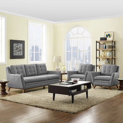 Beguile 3 Piece Living Room Set Upholstery: Expectation Gray