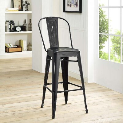 Ashlyn 30 Metal Framed Bar Stool Color: Black