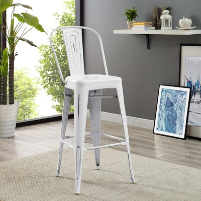 Ashlyn 30 Metal Framed Bar Stool Color: White