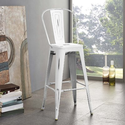 Ashlyn Metal 29.5 Bar Stool Color: White